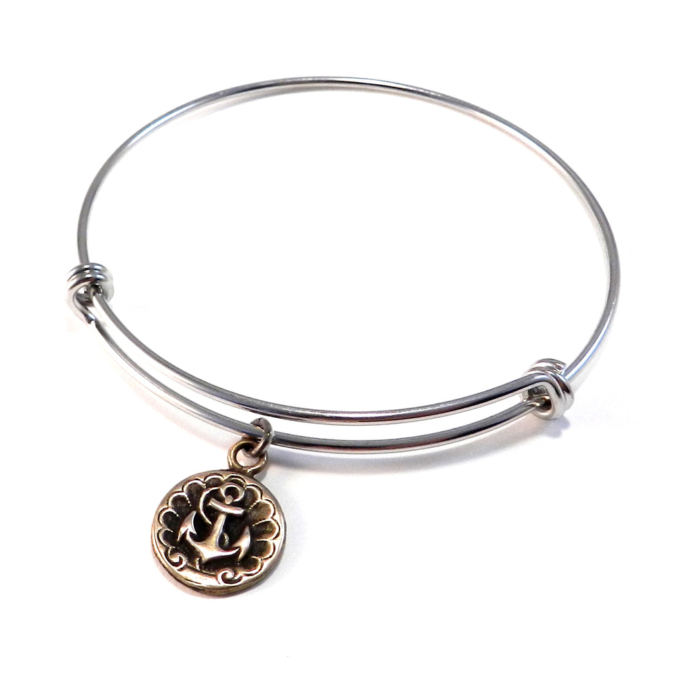 SHIPS ANCHOR Antique Button Bangle Bracelet - MIXED METAL
