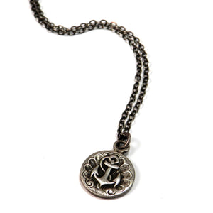 SHIPS ANCHOR - Antique Button Classic Necklace - SILVER