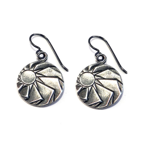 ANGLE OF REPOSE Antique Button Earrings - SILVER