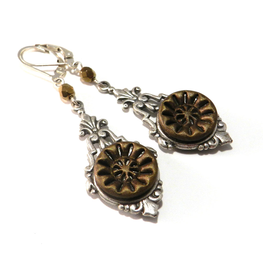 Silver and Gold Star Victorian Button Earrings