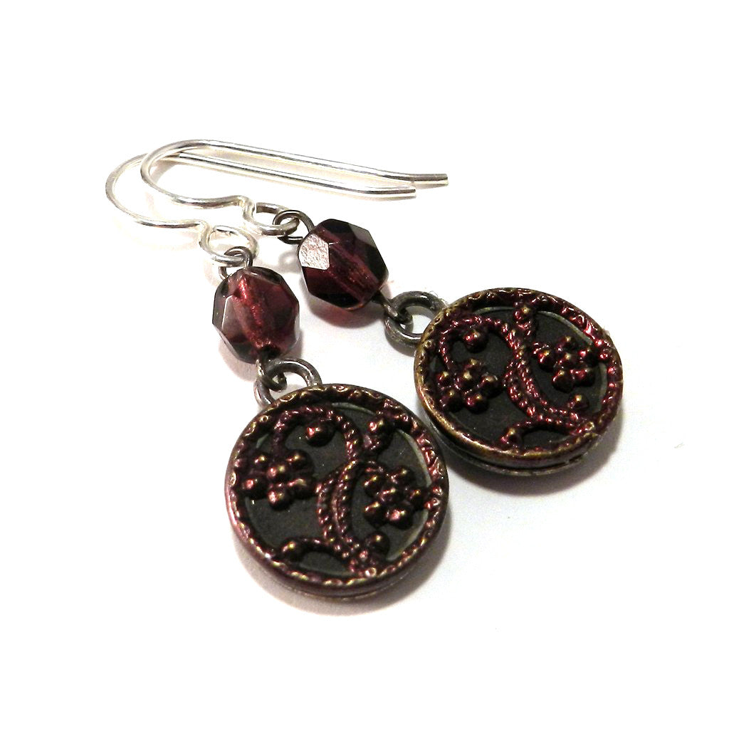 Plum and Blossom Antique Button Earrings - Sterling Silver