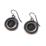 BLUE ROSE Antique Button Earrings - Silver