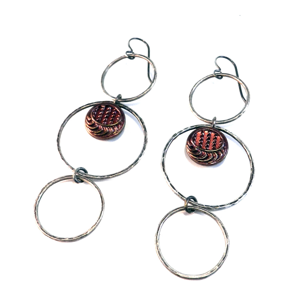 Deep Pink Moon Button Trilogy Earrings - Sterling Silver