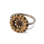 Gold Twinkle Starlight - Sterling Silver Antique Button Ring - 6 3/4