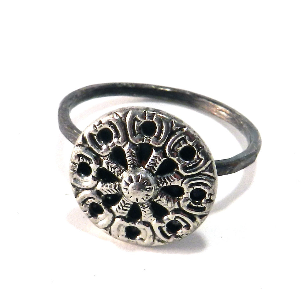Silver Mirror Button Sterling Silver Antique Button Ring