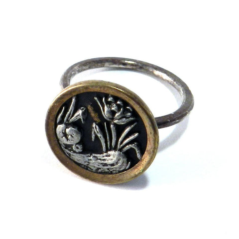 Silver and Gold Blossom Antique Button Ring