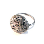 Silver Lace Button - Sterling Silver Antique Button Ring - Size 8 1/2