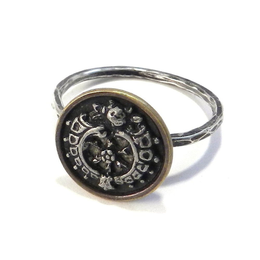 Victorian Nouveau - Sterling Silver Antique Button Ring