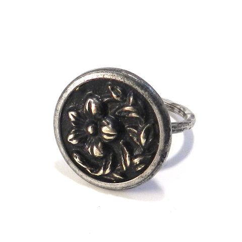Bronze Blossom - Antique Button Ring - Size 5 1/4