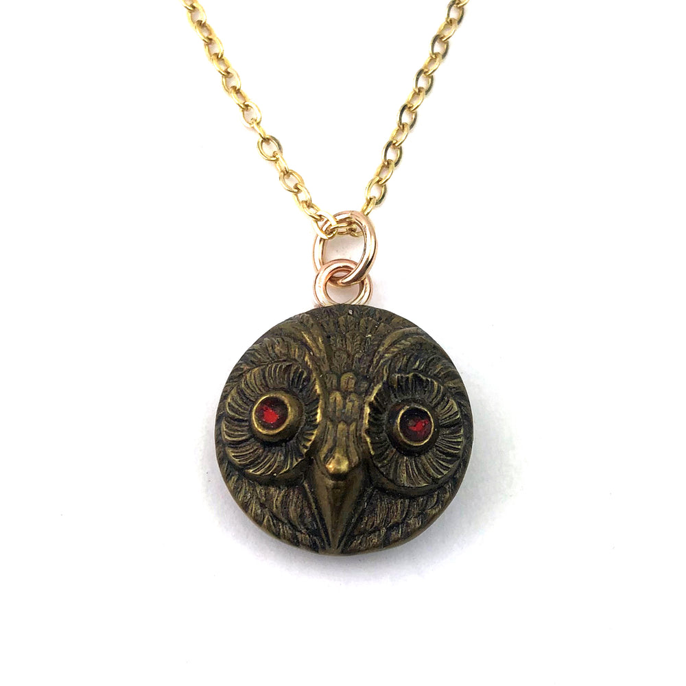 OWL Antique Button Necklace - GOLD