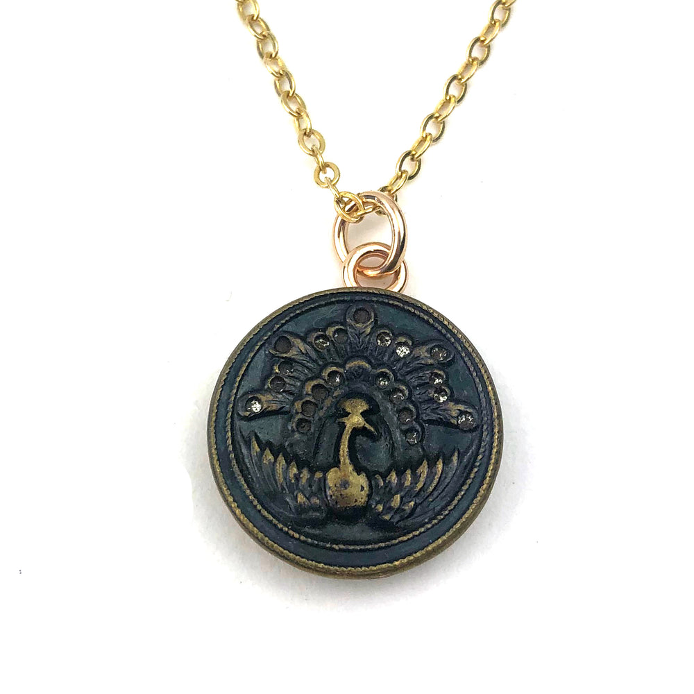 PEACOCK Victorian Button Necklace