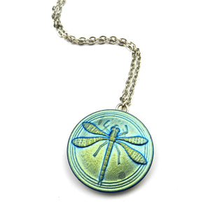AQUA DRAGONFLY Vintage Button Necklace - SILVER