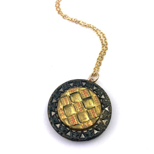 DECO DIAMOND Antique Button Necklace - GOLD