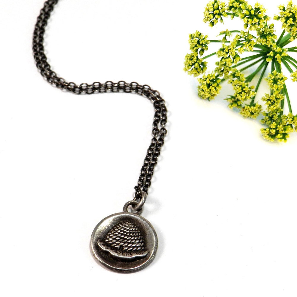 BEEHIVE Antique Button Necklace - SILVER