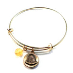 BEEHIVE Antique Button Bangle Charm Bracelet - BRONZE