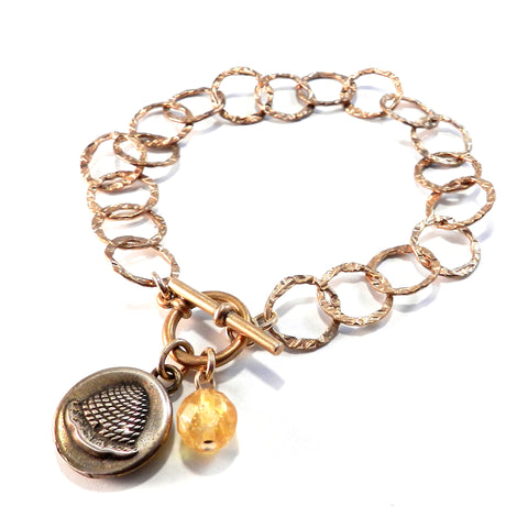 BEEHIVE Antique Button Charm Bracelet - BRONZE w/ Citrine