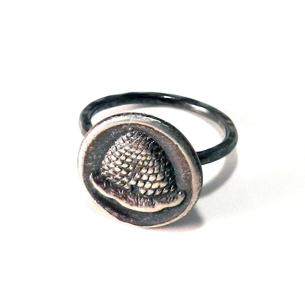 BEEHIVE Antique Button Ring - Sterling Silver