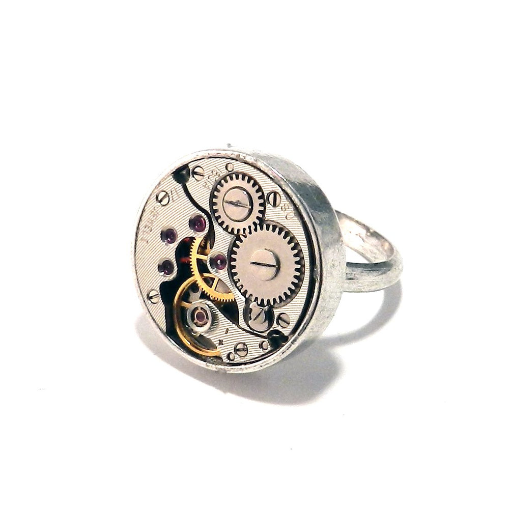 Round Clockwork Ring - Sterling Silver Bezel