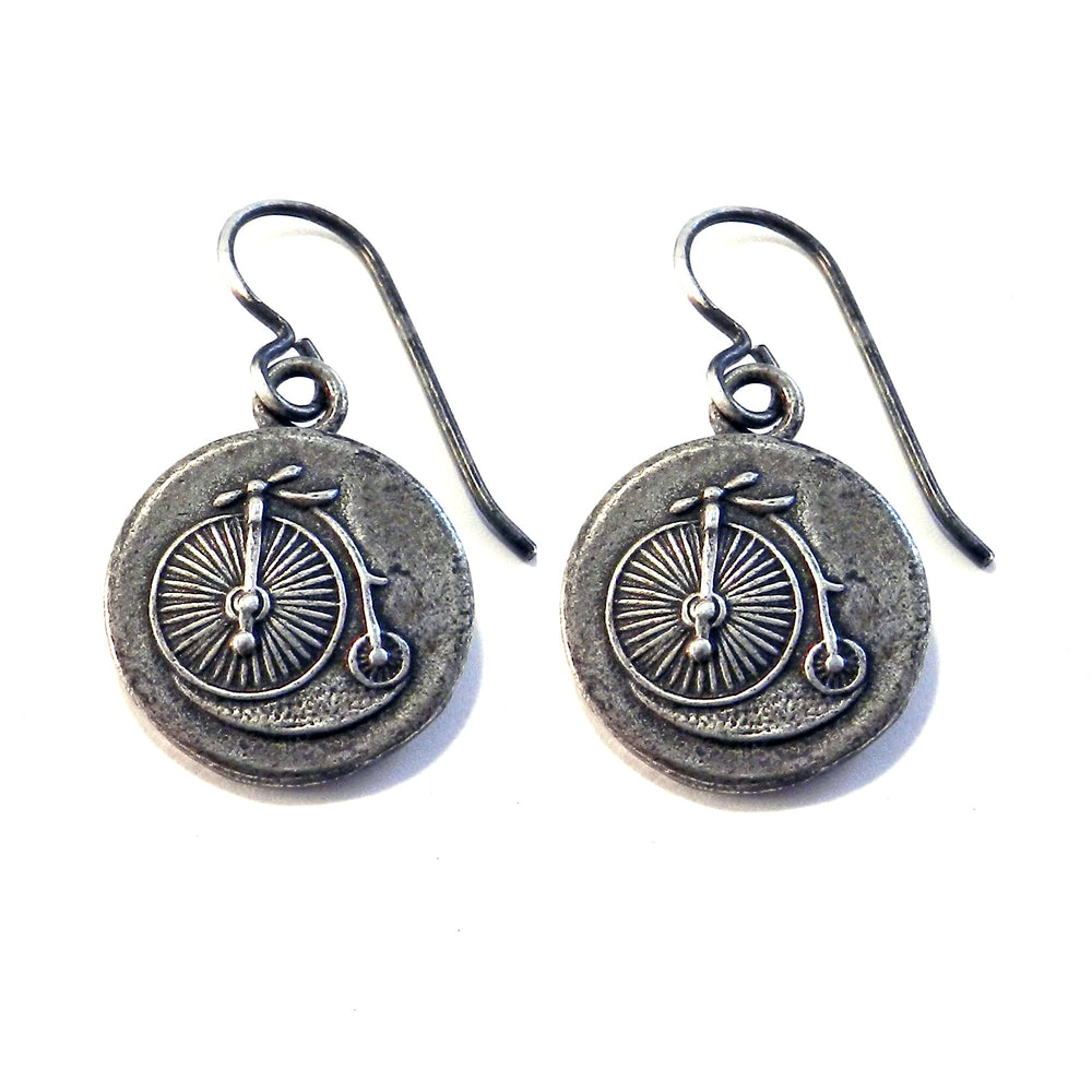 VINTAGE BICYCLE Antique Button Earrings - SILVER