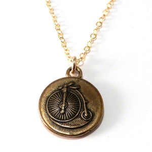 VINTAGE BICYCLE Antique Button Necklace - GOLD
