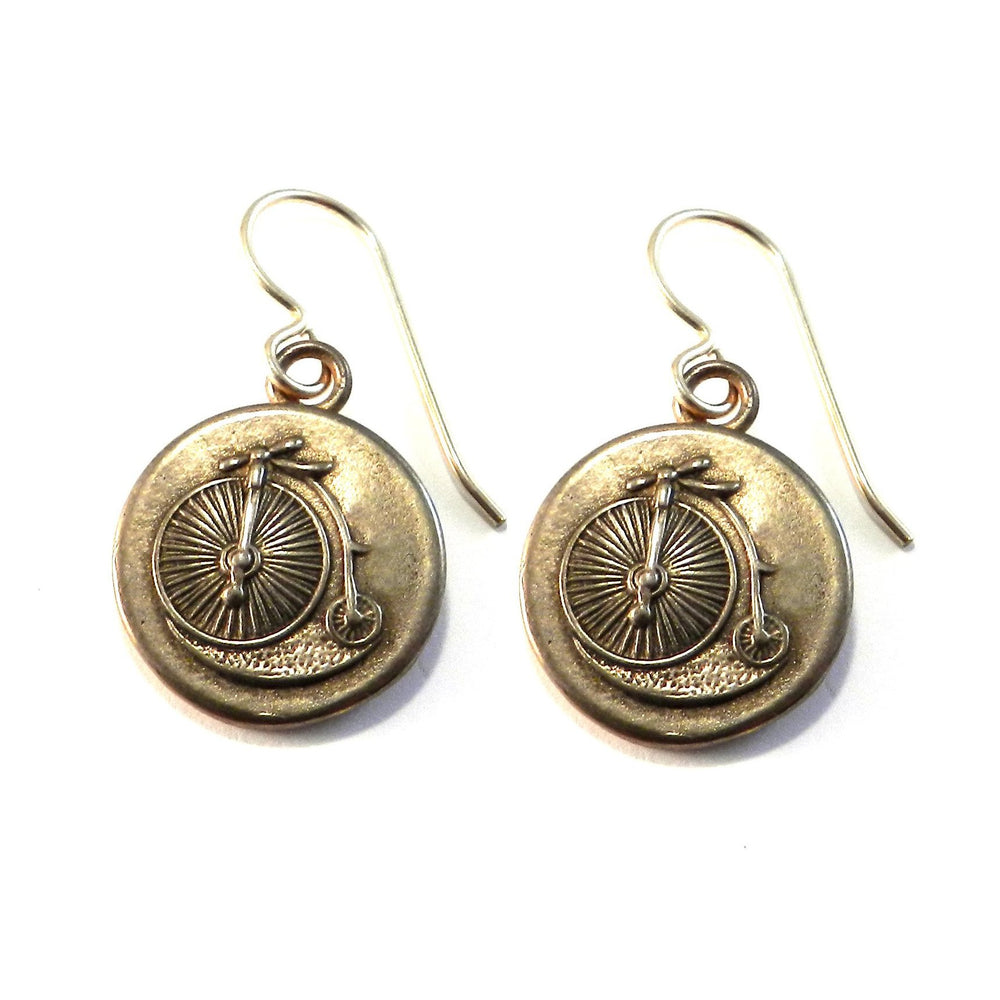 VINTAGE BICYCLE Antique Button Earrings - GOLD