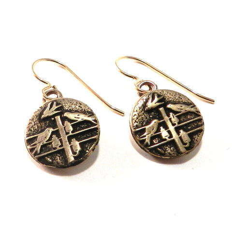 FLOCK TOGETHER Antique Button Earrings - Bronze