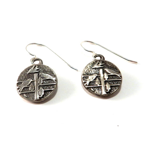 FLOCK TOGETHER Antique Button Earrings - Sterling Silver