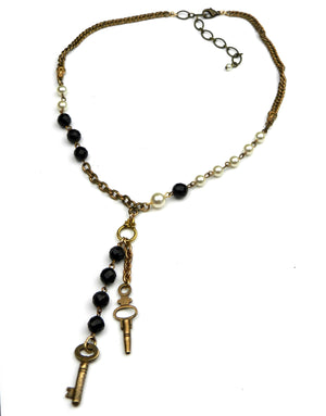 Black and White Luxe Vintage Key Necklace