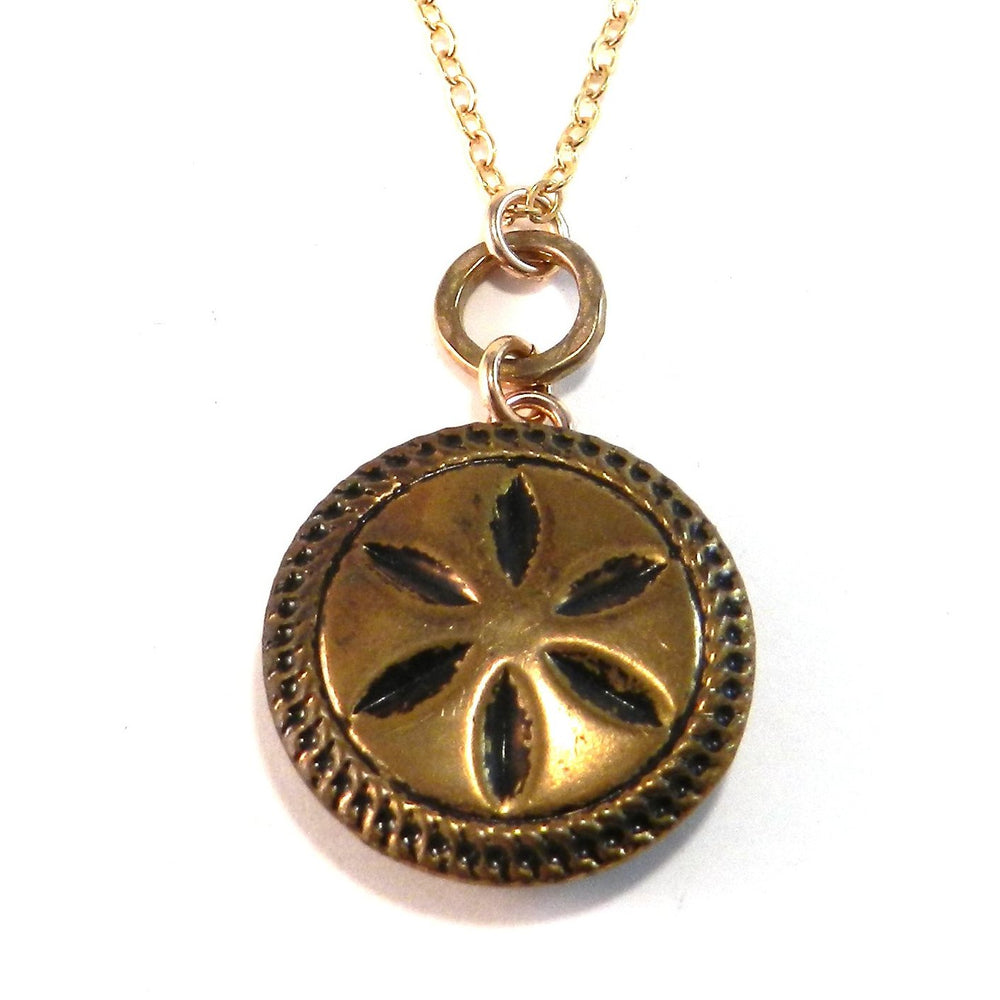 BLACK STAR - Antique Button Necklace - Gold