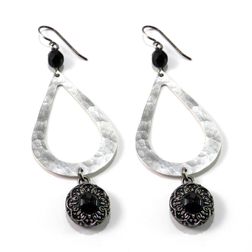 Black Lily Antique Button Earrings - Silver Teardrop
