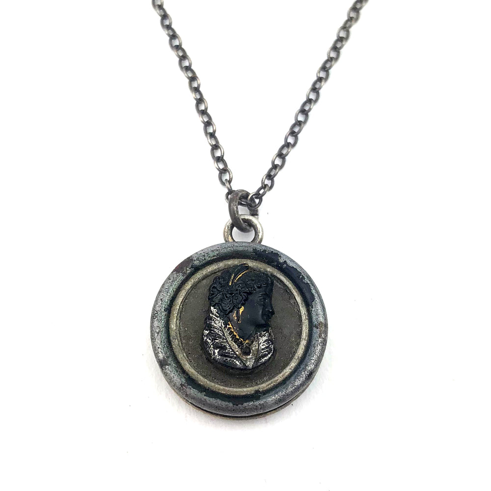Black Cameo Vintage Button Necklace - Silver