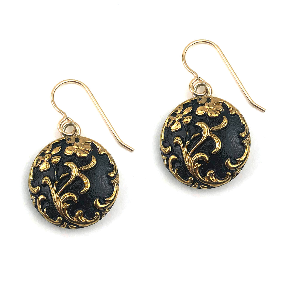 Night Blossom Vintage Button Earrings - Gold