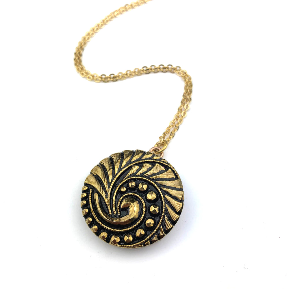 Gold and Black Geometric Spiral Vintage Button Necklace - Gold