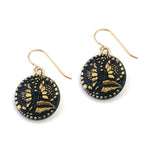 Sunflowers Vintage Button Earrings - Gold