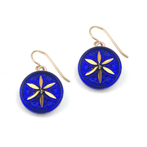 Blue Cobalt Star Vintage Button Earrings - Gold