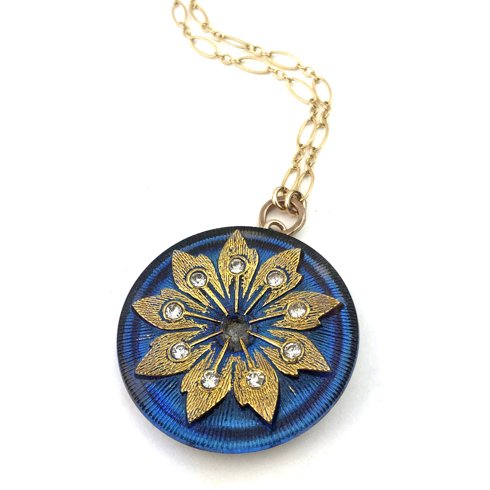 SKY BLOSSOM - Antique Button Necklace - GOLD