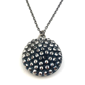 Bohemian Glass Rivets Necklace - Silver