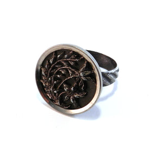 Spring Forth - Antique Button Ring - Size 10 1/4