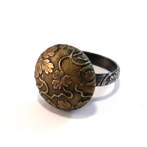 Botanical Dome - Antique Button Ring - Size 10