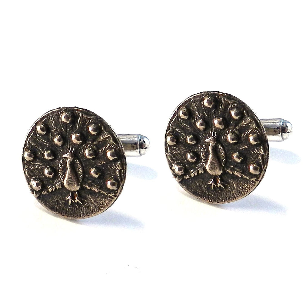 PEACOCK Antique Button Cufflinks - BRONZE