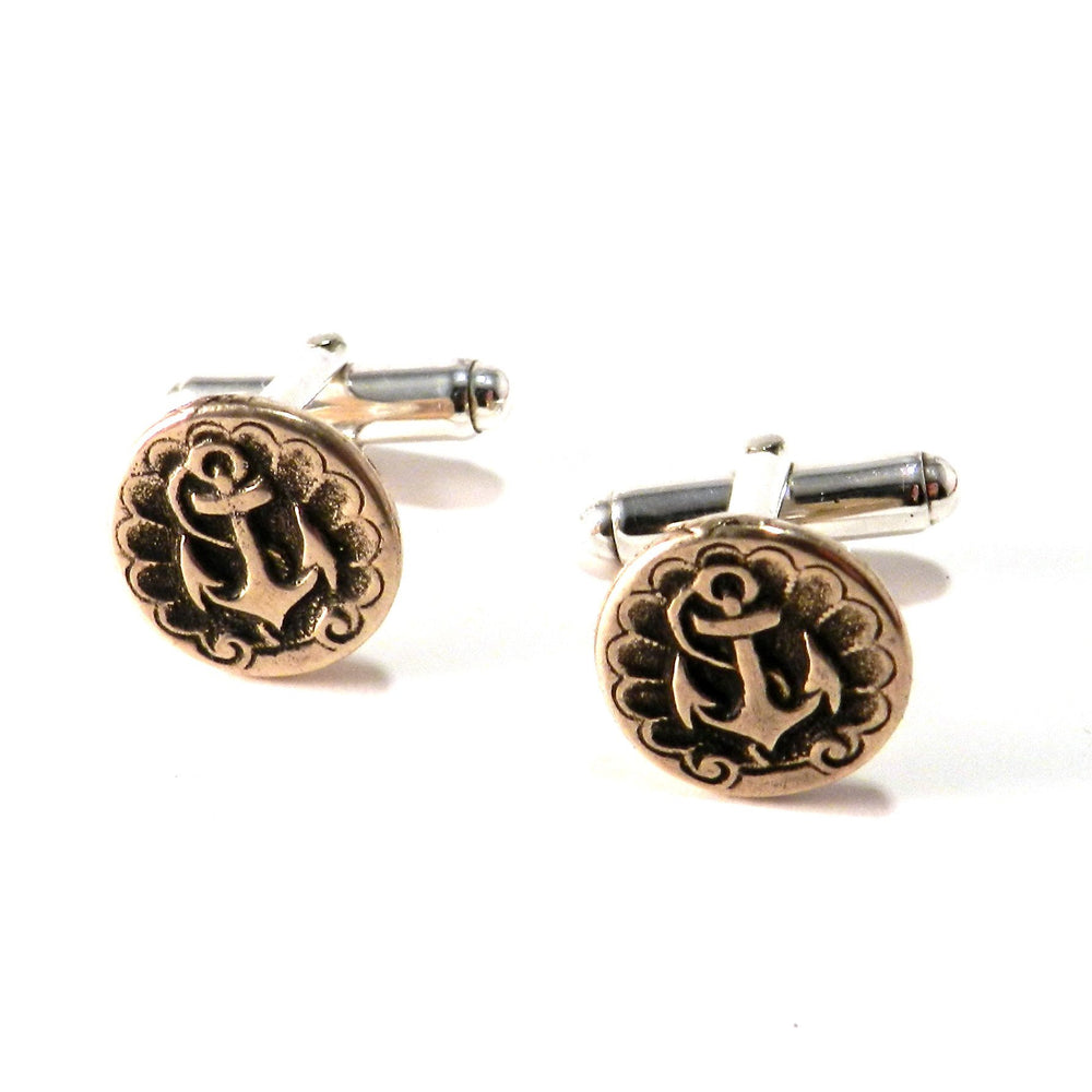 SHIPS ANCHOR Antique Button Cufflinks - BRONZE