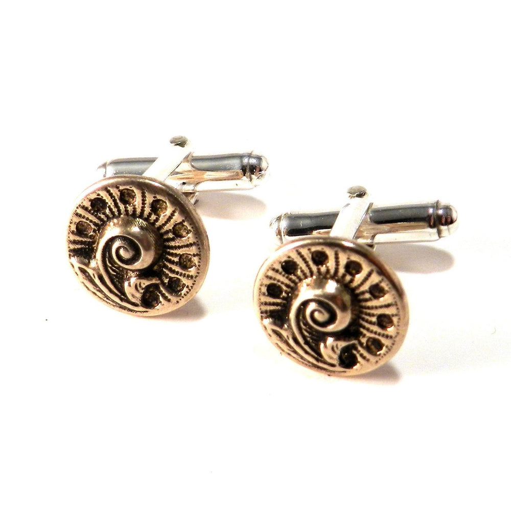 FERN / NAUTILUS Antique Button Cufflinks - BRONZE