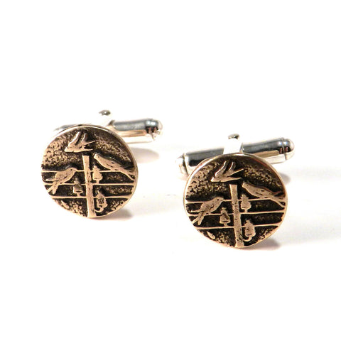 FLOCK TOGETHER Antique Button Cufflinks - Bronze