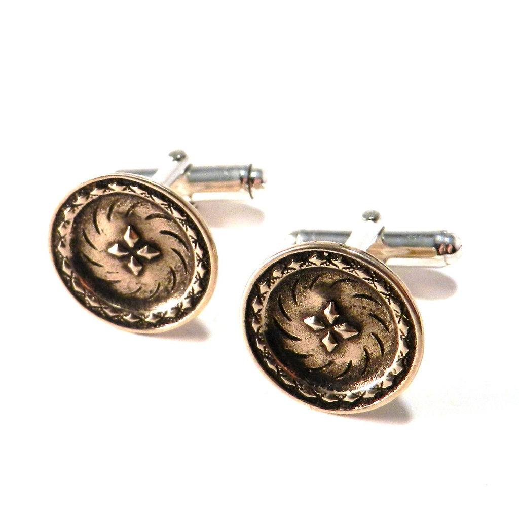 Four Winds Antique Button Cufflinks - Bronze
