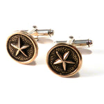 STAR Antique Button Cufflinks - BRONZE