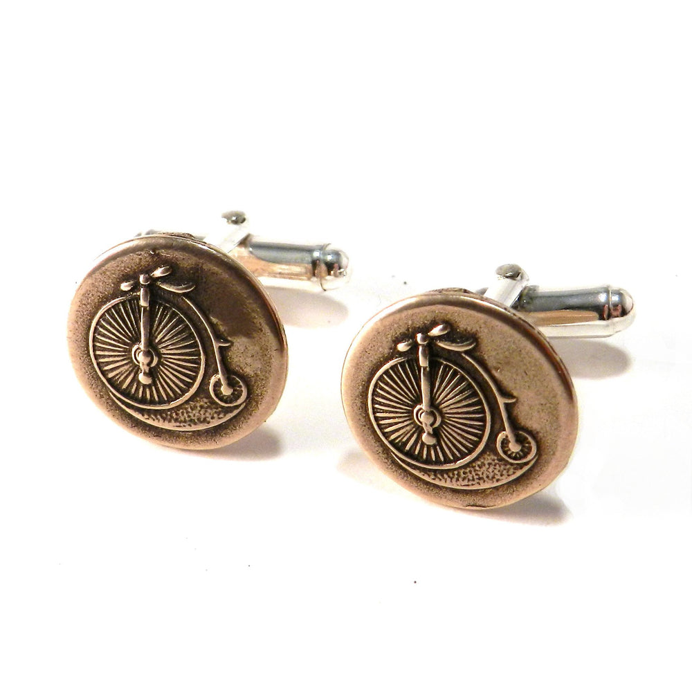 VINTAGE BICYCLE Antique Button Cufflinks - BRONZE