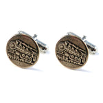 STEAM TRAIN Antique Button Cufflinks - BRONZE