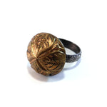 Four Directions - Antique Button Ring - Size 7