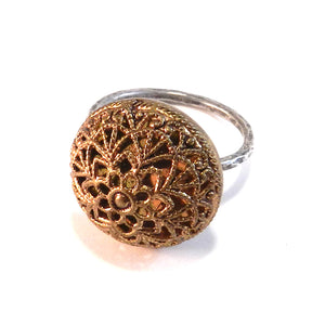 Brass Lace Button - Sterling Silver Antique Button Ring - Size 8