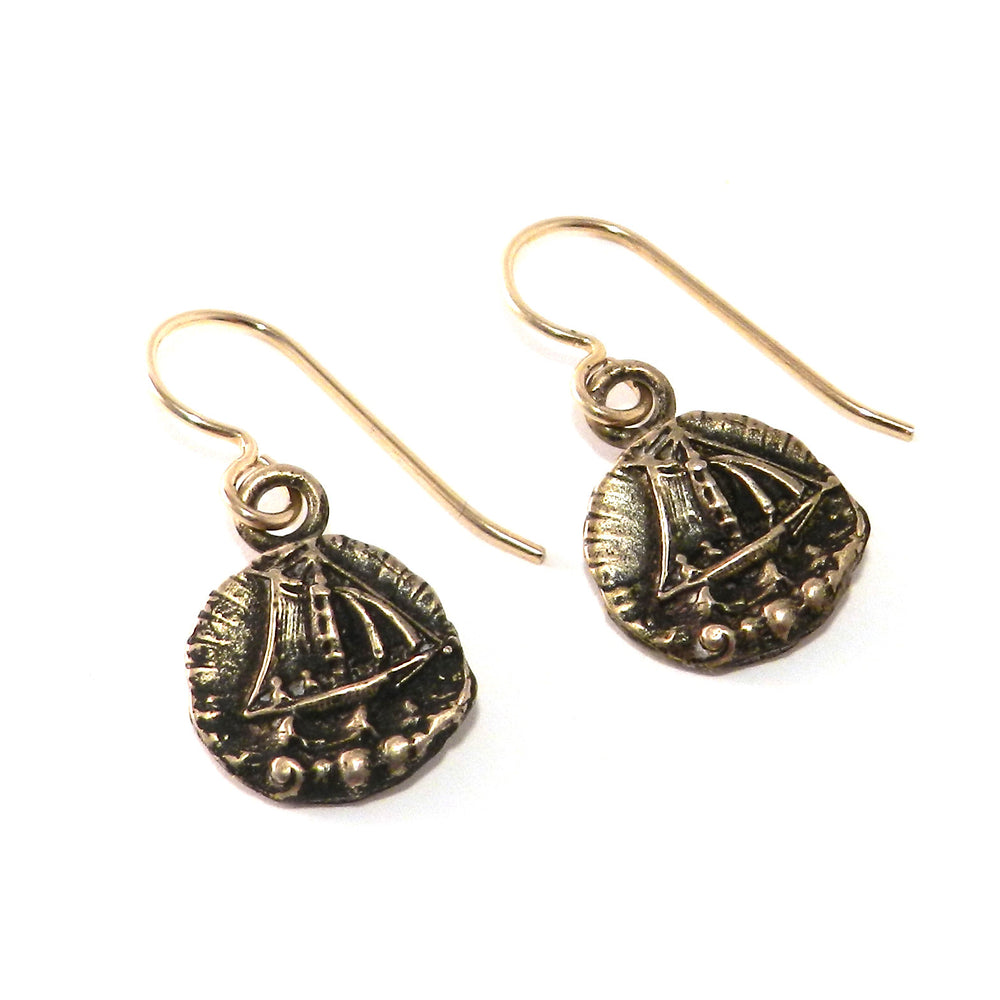 SET SAIL Antique Button Earrings - Bronze